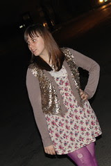 Fish scales outfit: Anthropologie cardigan, ruche floral dress with lace yoke, magenta tights, striped canvass lace-ups