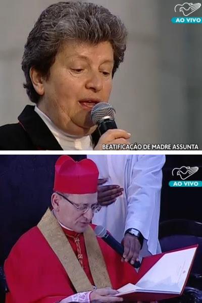 Irmã Leocádia e Cardeal Amato na cerimônia de beatificação / Foto: Reprodução TV Canção Nova