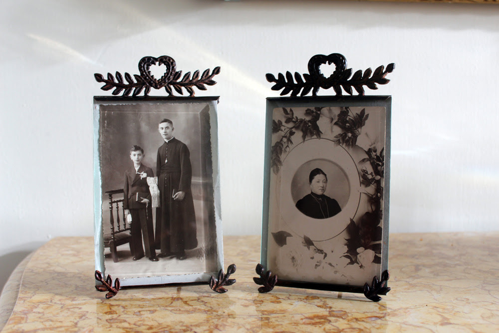 Picture Frames French 19th C Metal Beveled Glass The French