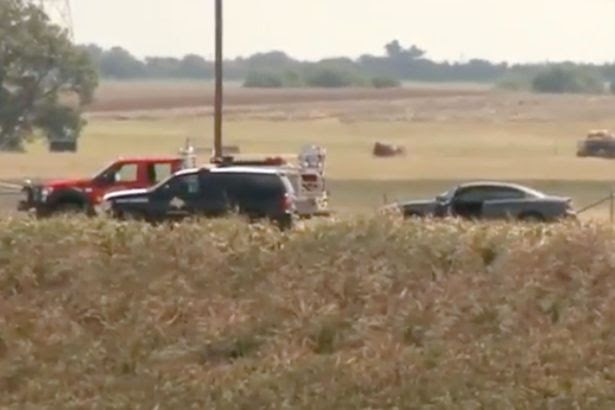Police at the scene of a Hot Air Balloon crash in Texas