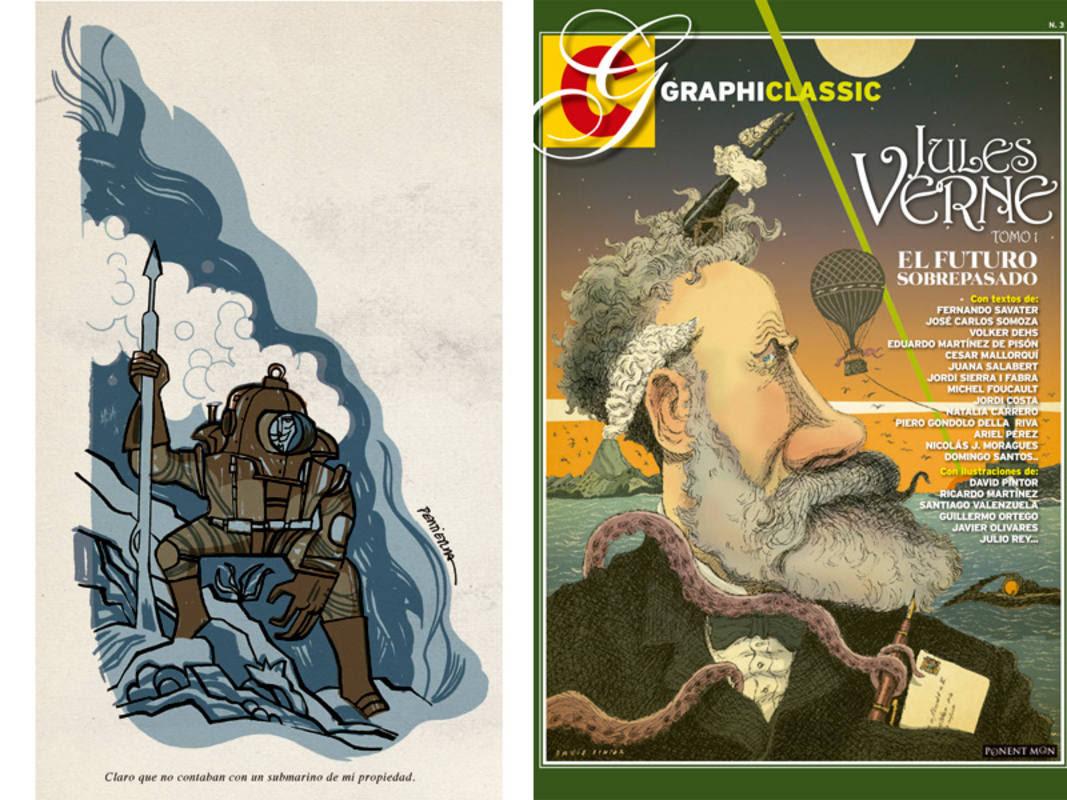 Ilustración de Joaquín Pertierra y portada de 'Jules Verne 1: El futuro sobrepasado'