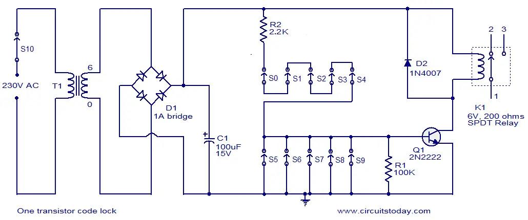 one transistor code lock