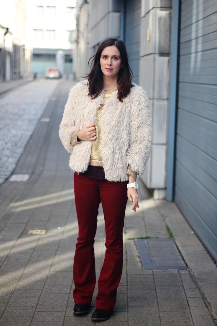 Faux Fur Jacket, Burgundy Trousers