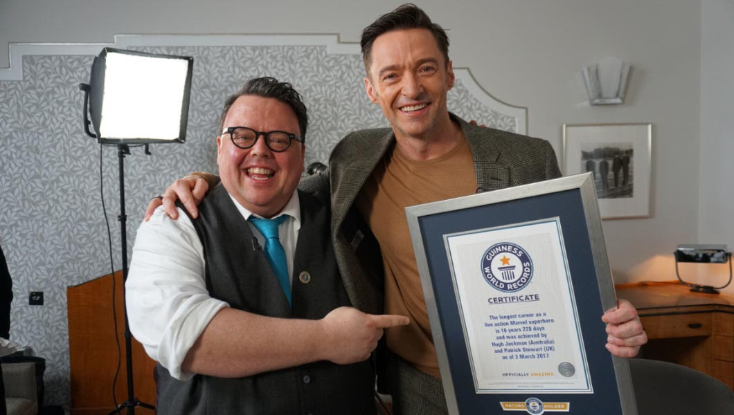 Hugh Jackman surprised with Guinness World Record for 16 year Wolverine career.