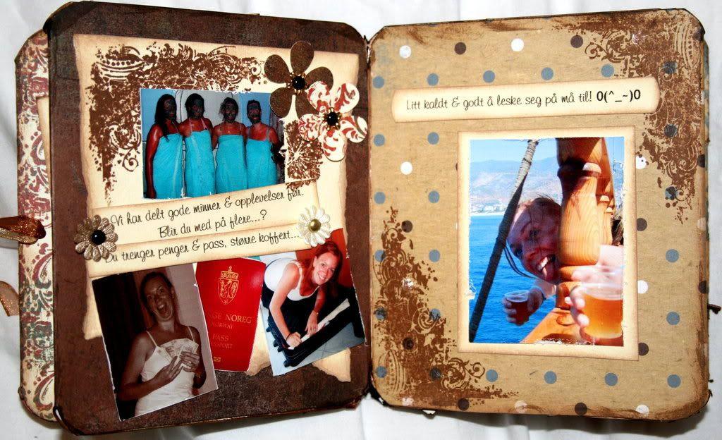 Bilder av gjengen og jubilanten fra tidligere turer samt hint om hva hun må huske på...