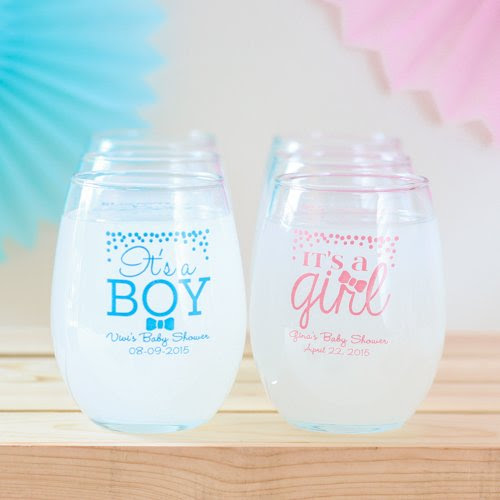 Personalized wine glasses for a baby shower | baby shower theme ideas