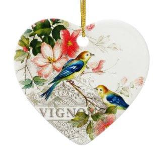 Vintage Birds French Design Round Metal Christmas Ornament