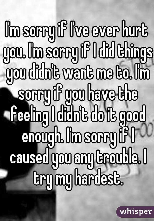 Im Sorry If Ive Ever Hurt You Im Sorry If I Did Things You Didn