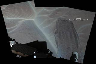 A wheel track left by NASA's Curiosity Mars rover