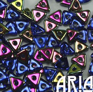 SAPPHIRE VITRAIL: Tri-Bead Czech Glass Triangle Bead, Sequin or Spacer, Reversible 4mm (5 grams)