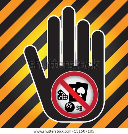 No Gambling Prohibited Sign Present By Hand With No Gambling Sign Inside in Caution Zone Dark and Yellow Background - stock photo