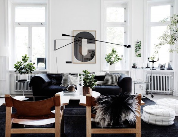 Black Scandinavian Living Area With Leather Furniture