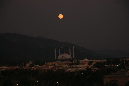 Full moon rising over Islamabad