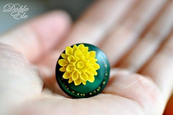 OOAK Vintage Button Ring -12-
