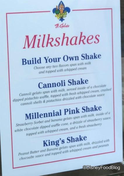 Vivoli Gelato Seasonal Milk Shakes