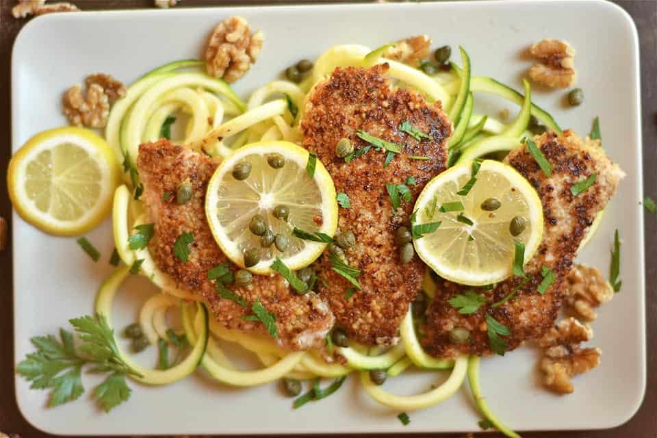 Walnut Crusted Lemon Chicken Piccata