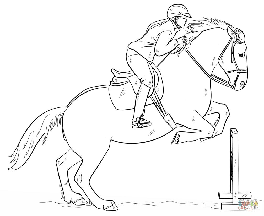 springendes Pferd mit Reiter