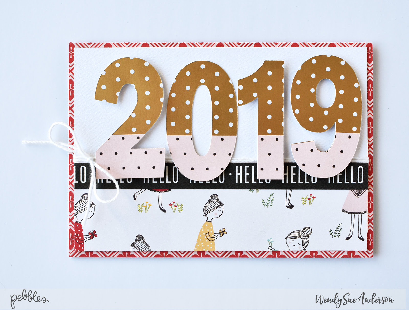 """Pop-Up New Year's Card by Wendy Sue Anderson featuring the """"Along the Way"""" collection by @PebblesInc."""