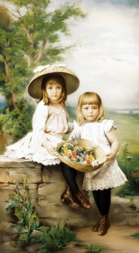 Children With Spring Bucket of Flowers