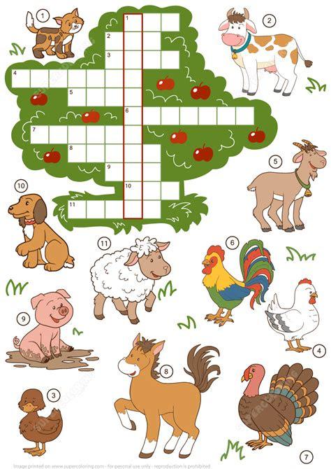 farm animals crossword puzzle  beginners
