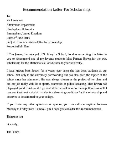 Letter of Recommendation for Scholarship and How to Make ...