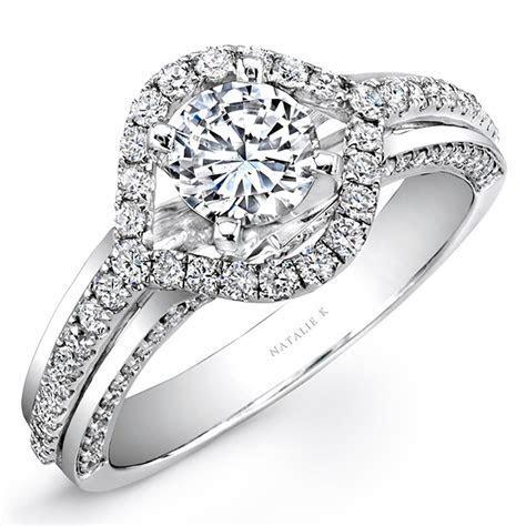 18K White Gold Evil Eye Diamond Halo Engagement Ring