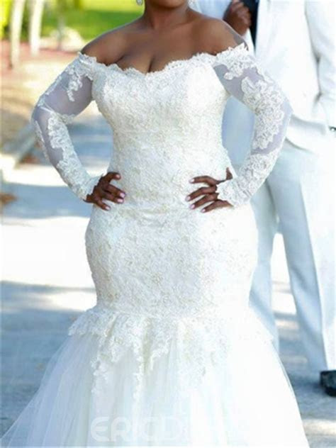 Ericdress Off The Shoulder Mermaid Plus Size Wedding Dress