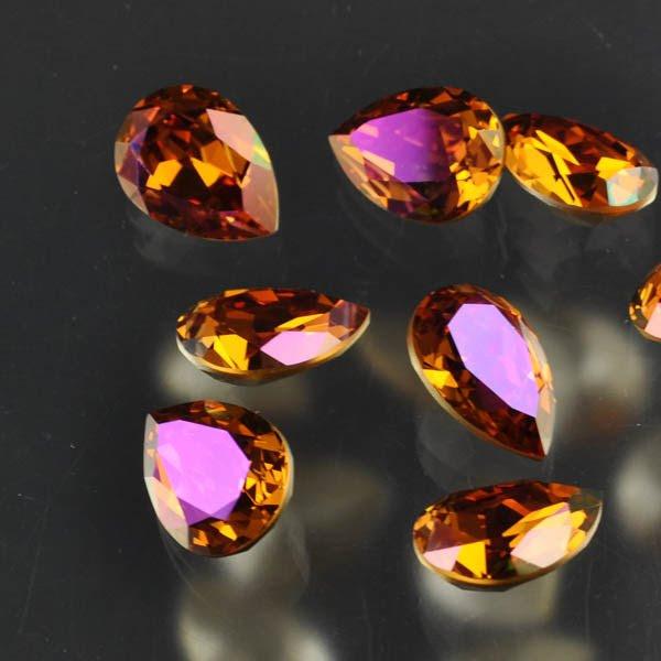 s33485 Swarovski Fancy Rhinestones - 13 x 18 mm Faceted Pear (4320) - Crystal Summer Blush (1)