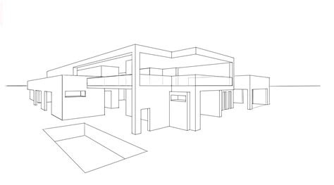 drawn house modern architectural design pencil