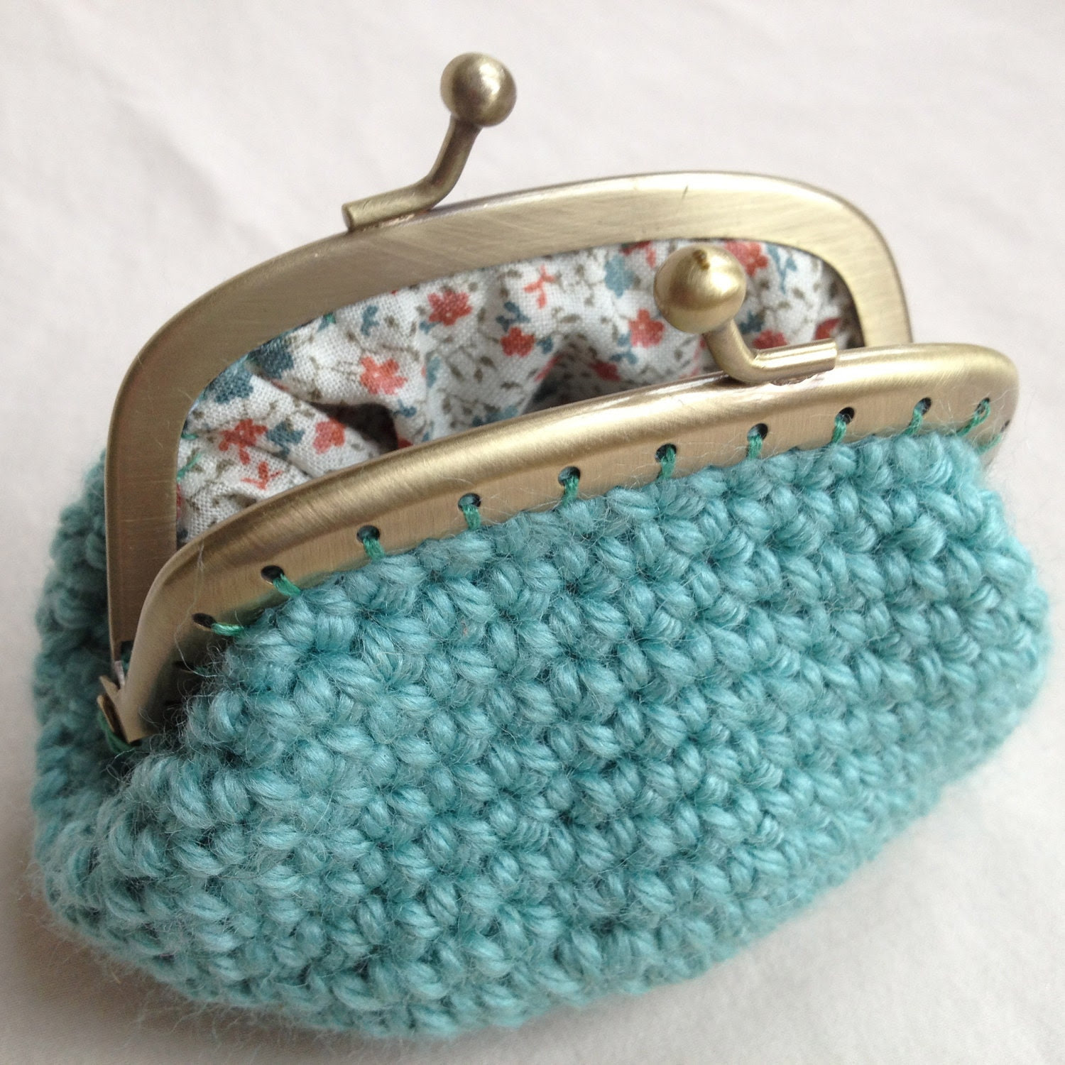 Sea Green Crochet Coin Purse