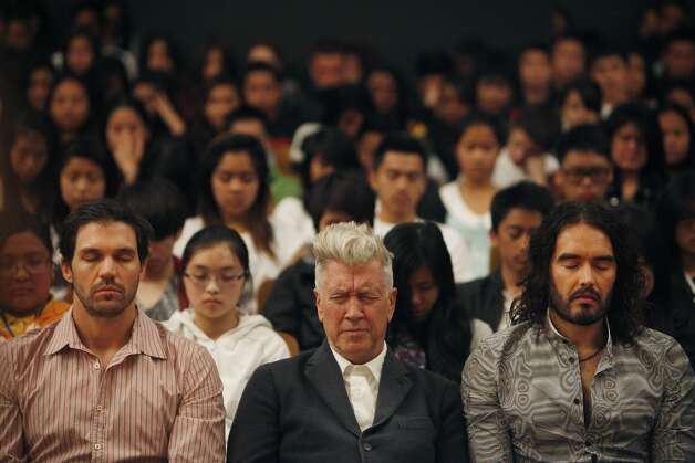 Barry Zito, David Lynch, Russell Brand meditate with students during Quiet Time at Burton High. Photo: Lea Suzuki, The Chronicle