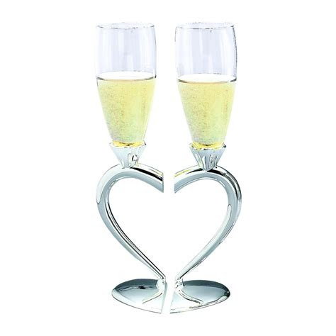 toasting goblets  heart shaped separating base stem