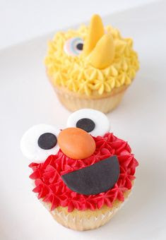Elmo and big bird Cupcakes for kids