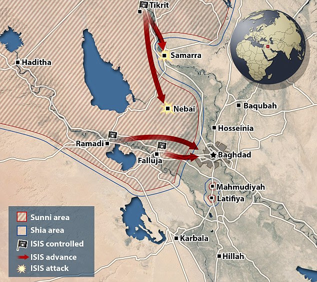 Surrounded: ISIS has effectively 'surrounded' Baghdad after its conquest in Ramadi and the thousands of displaced Iraqi citizens living in the no man's land in between are vulnerable to attack if the militants march east