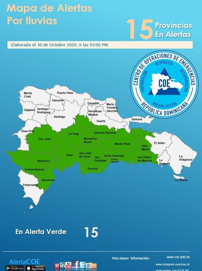 COE: 15 LAS PROVINCIAS EN ALERTA POR LLUVIAS