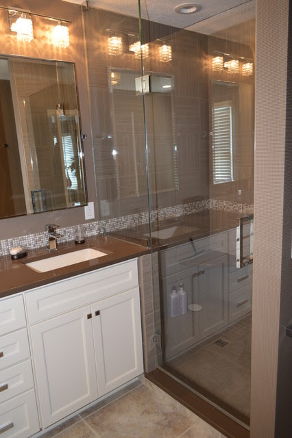 Master Bath in White and Gray - contemporary - bathroom ...