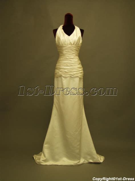 Column Simple Halter Beach Wedding Dress in Cheap 234:1st