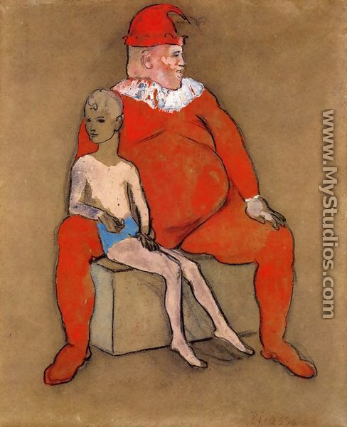 Clown and Young Acrobat - Pablo Picasso