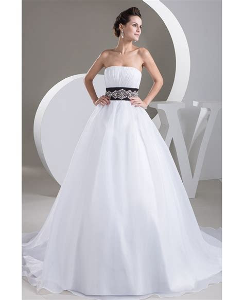 Strapless Ballgown Organza White with Black Wedding Dress