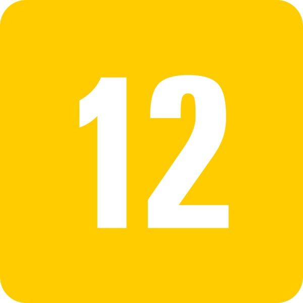 This picture shows the number 12 written in white inside a square.