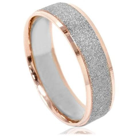 Rose Gold Wedding Band Brushed Rose Gold 2 Tone Mens Ring Rose