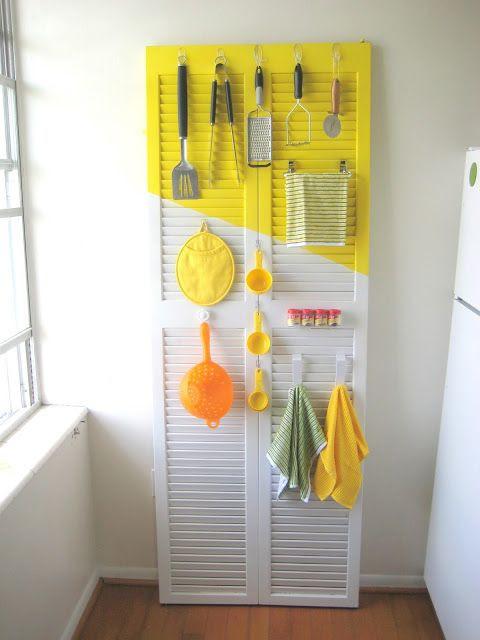Turn a closet door into an organizer by adding hooks. #DIY
