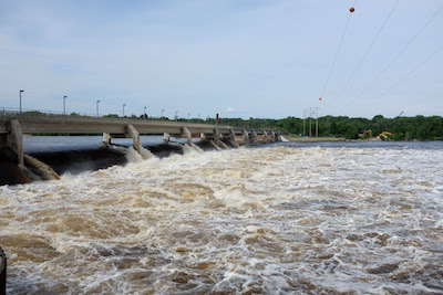 The Coon Rapids dam with the Mississippi at high levels.  The pedestrian/bicycle path over the dam is currently closed.
