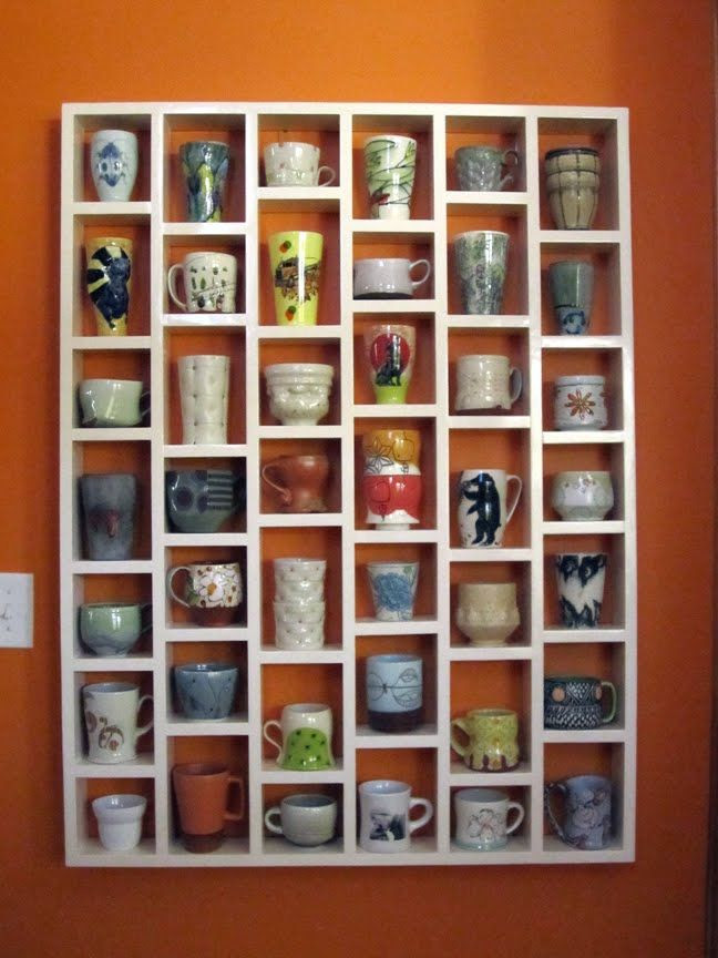 Coffee cup shelving! Brilliant! better than stackin them in cupboards!