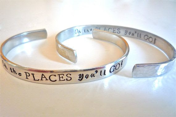 "Graduation/Promotion Gift-""Oh the Places You'll Go"" Dr. Suess-Customize Bracelet with Your Personal Message- Jewelry by The Silver Swing"