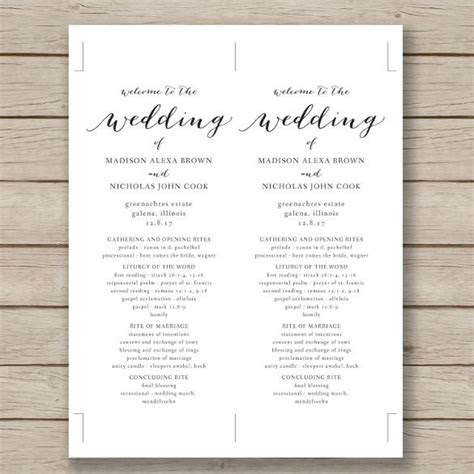 ideas  wedding program templates