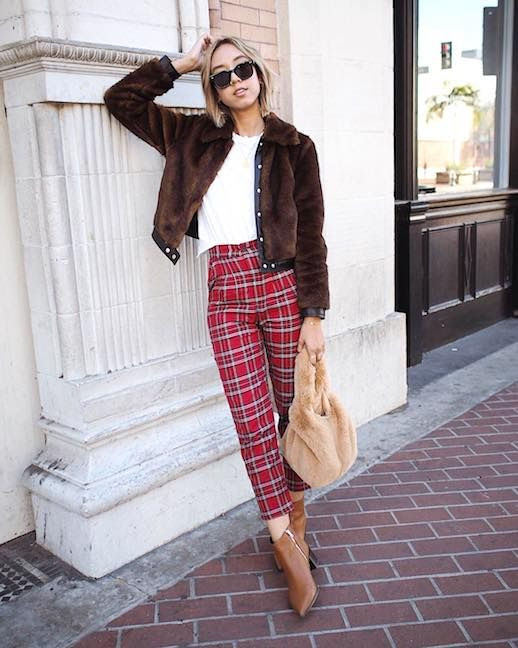 Le Fashion Blog Brown Fur Bomber Jacket White T Shirt Red Plaid Pants Furry Bag Tan Chelsea Boots Via @shhtephs