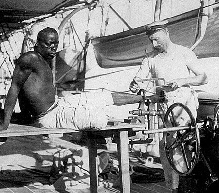 photograph showing African slave being freed by the British Royal Navy