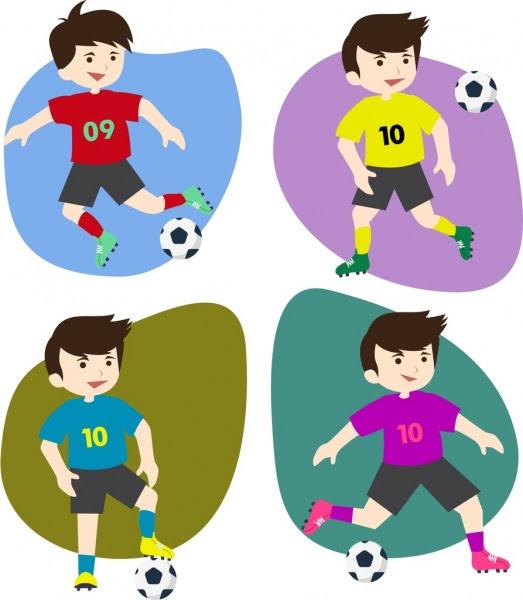 Koleksi Ikon Pemain Sepak Bola Berbagai Warna Warni Datar Isolasi