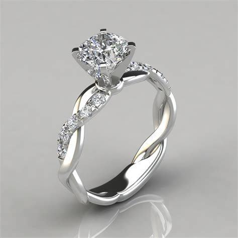 Twist Cushion Cut Engagement Ring   PureGemsJewels